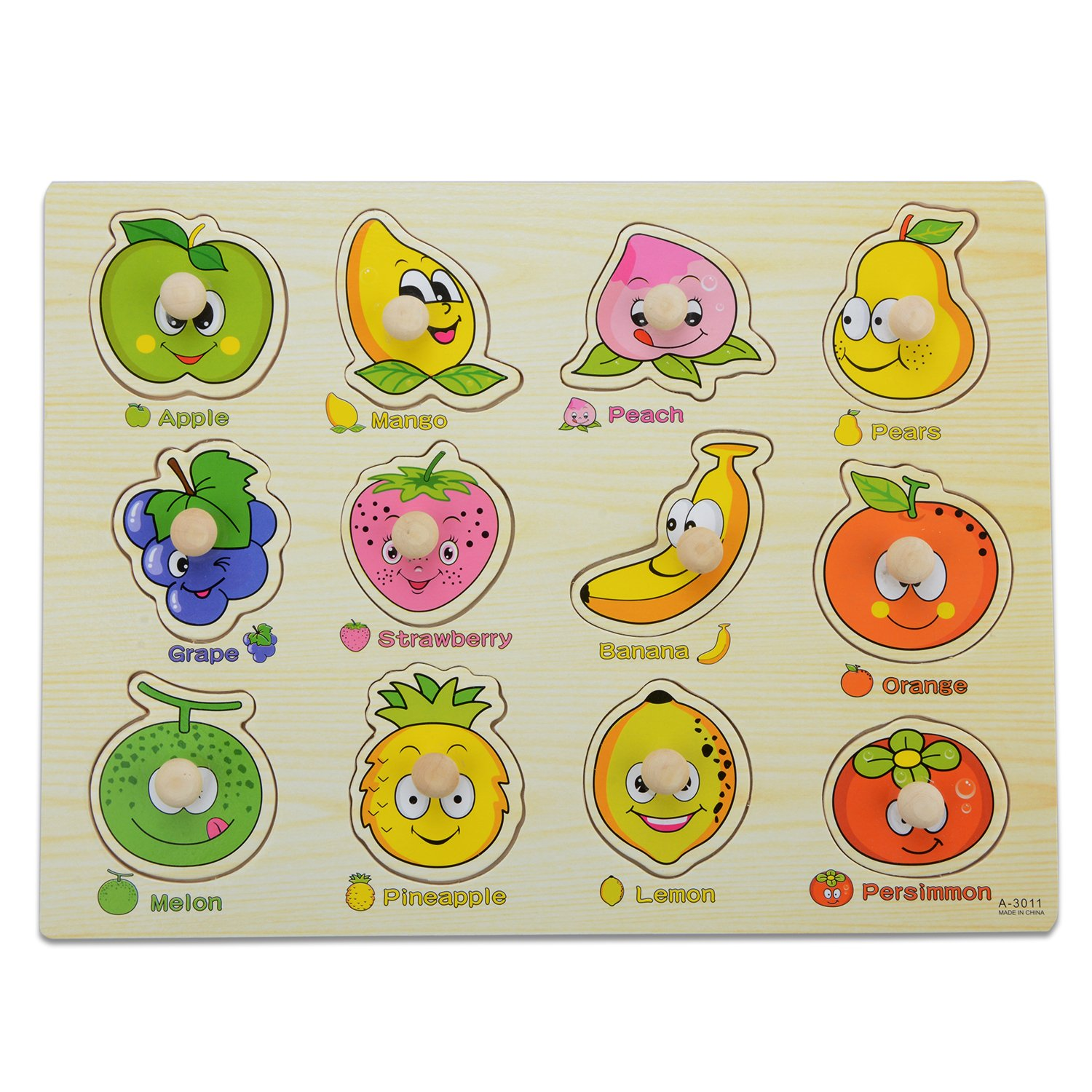 Wooden Fruit Matching Pegged Puzzles,Moonvvin Creative Wood Educational Shape and Color Puzzle - Perfect Christmas Gift for Your Kids