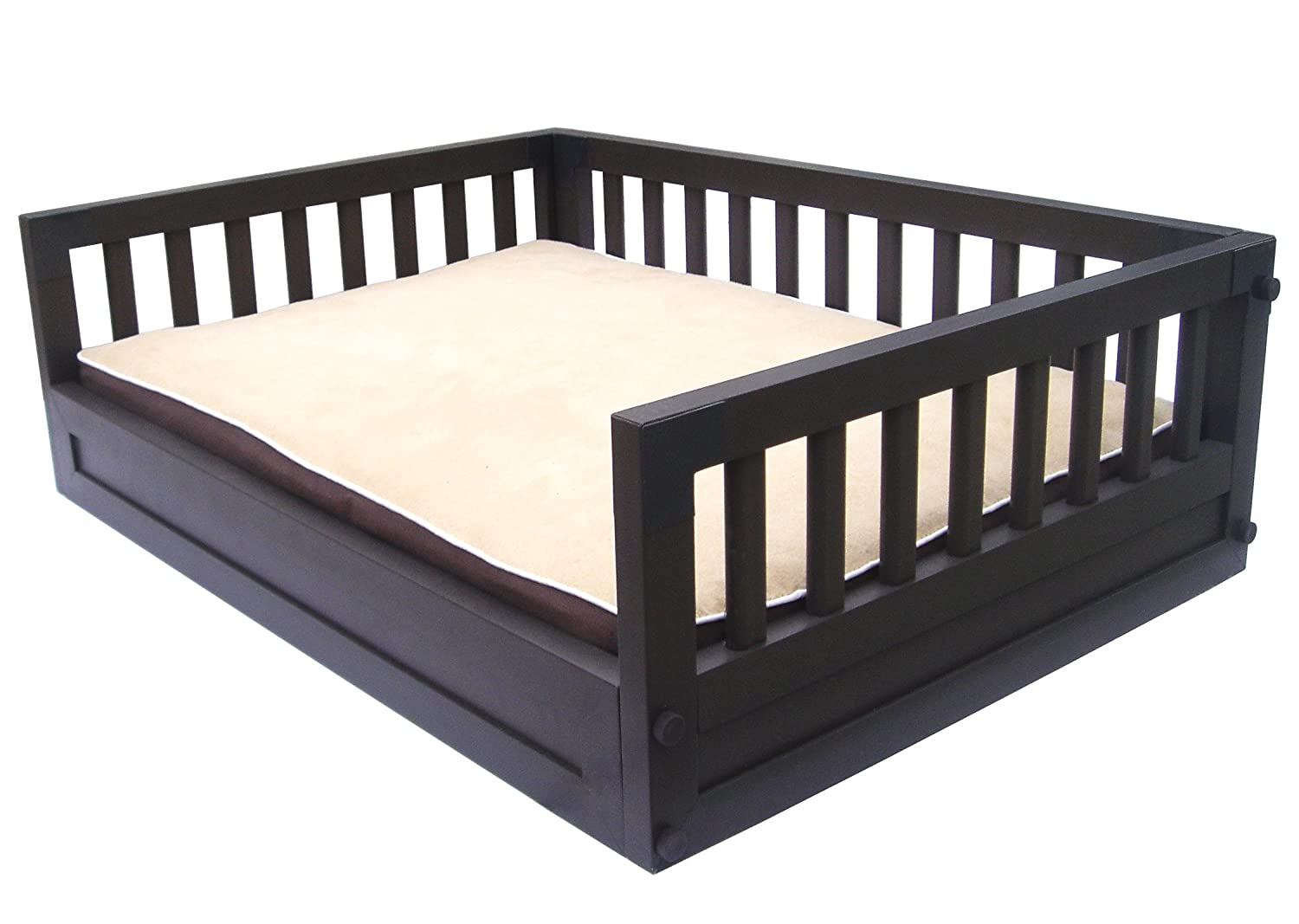 Espresso Pet Bunk Bed With Cushion / Pad