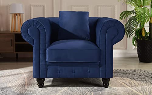 Classic Scroll Arm Large Velvet Living Room Chesterfield Accent Chair Blue