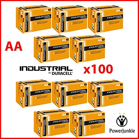 100 x Duracell Industrial AA pilas alcalinas reemplaza PROCELL MN1500 1,5 V LR6
