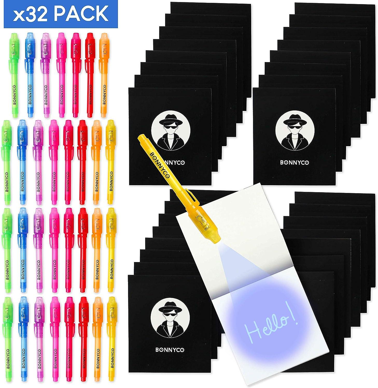 BONNYCO Bolígrafo Tinta Invisible y Libreta Pack x 32 Cumpleaños Niños Colegio, Detalles Cumpleaños Infantiles o Relleno Piñata | Regalos para Niños en Comunión y Boda