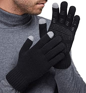 6c6f1cc7f LETHMIK Mens&Womens Non-Slip Touchscreen Gloves Winter Warm Knit Wool Lined  Texting Glove ,Mens