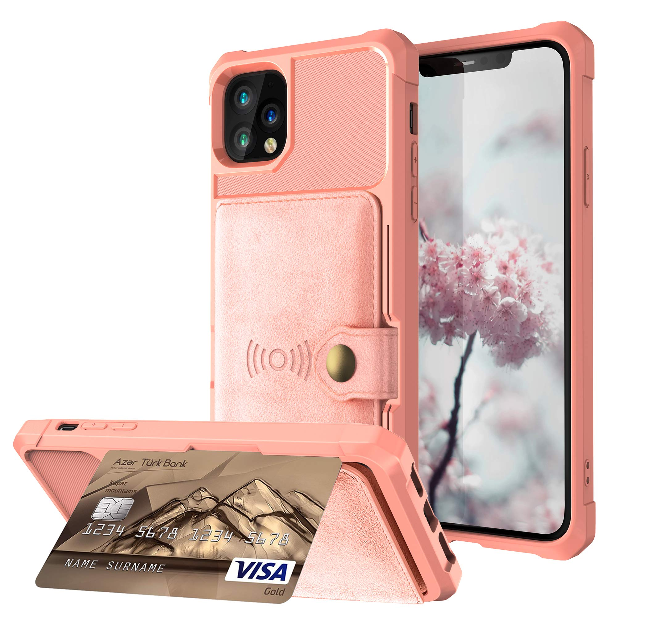 DAMONDY for iPhone 11 Pro Max Case,Wallet Purse Card Holders Design Cover Soft Shockproof Bumper Flip Leather Kickstand Drop Protection Magnetic Case for iPhone 11 Pro Max 6.5 inch-Rose Gold by DAMONDY