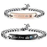 Amazon Price History for:Finrezio Couples Bracelets for Women Men Her King and His Queen Bracelet Set 316L Stainless Steel Link Bracelet 2Pcs