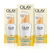 Olay Complete Lotion Moisturizer with Sunscreen SPF 30 Sensitive, 2.53 Fluid Ounce, Pack of 3