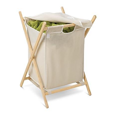 Honey Can Do HMP 01365 Folding Frame Clothes Hamper, Wood/Natural