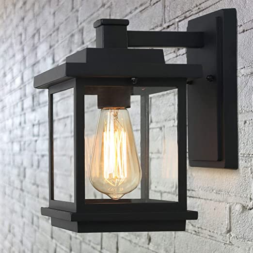 Laluz Exterior Light Fixtures Farmhouse Outdoor Wall Lantern In Black With Clear Glass For Porch Barn A03156