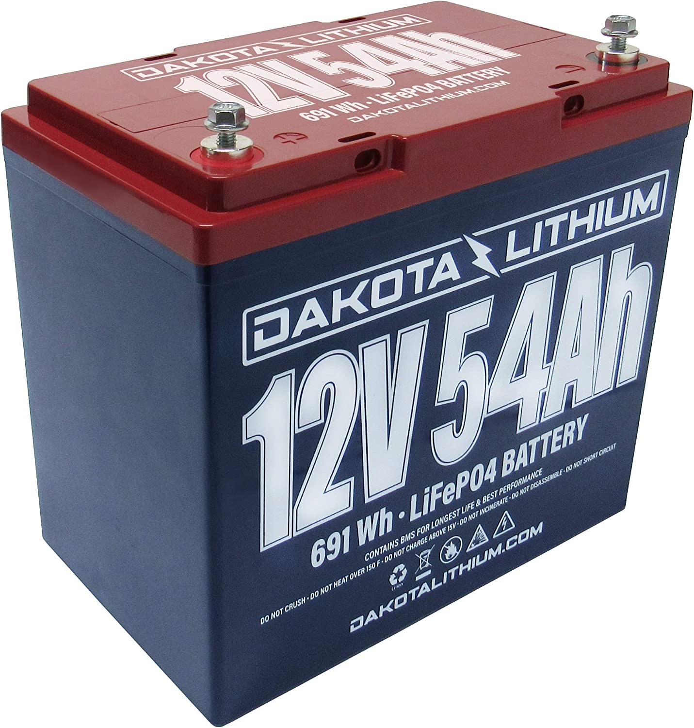 Amazon Com Dakota Lithium 12v 54ah Lifepo4 11 Year Usa Warranty 2000 Deep Cycle Battery Charger Included Sports Outdoors