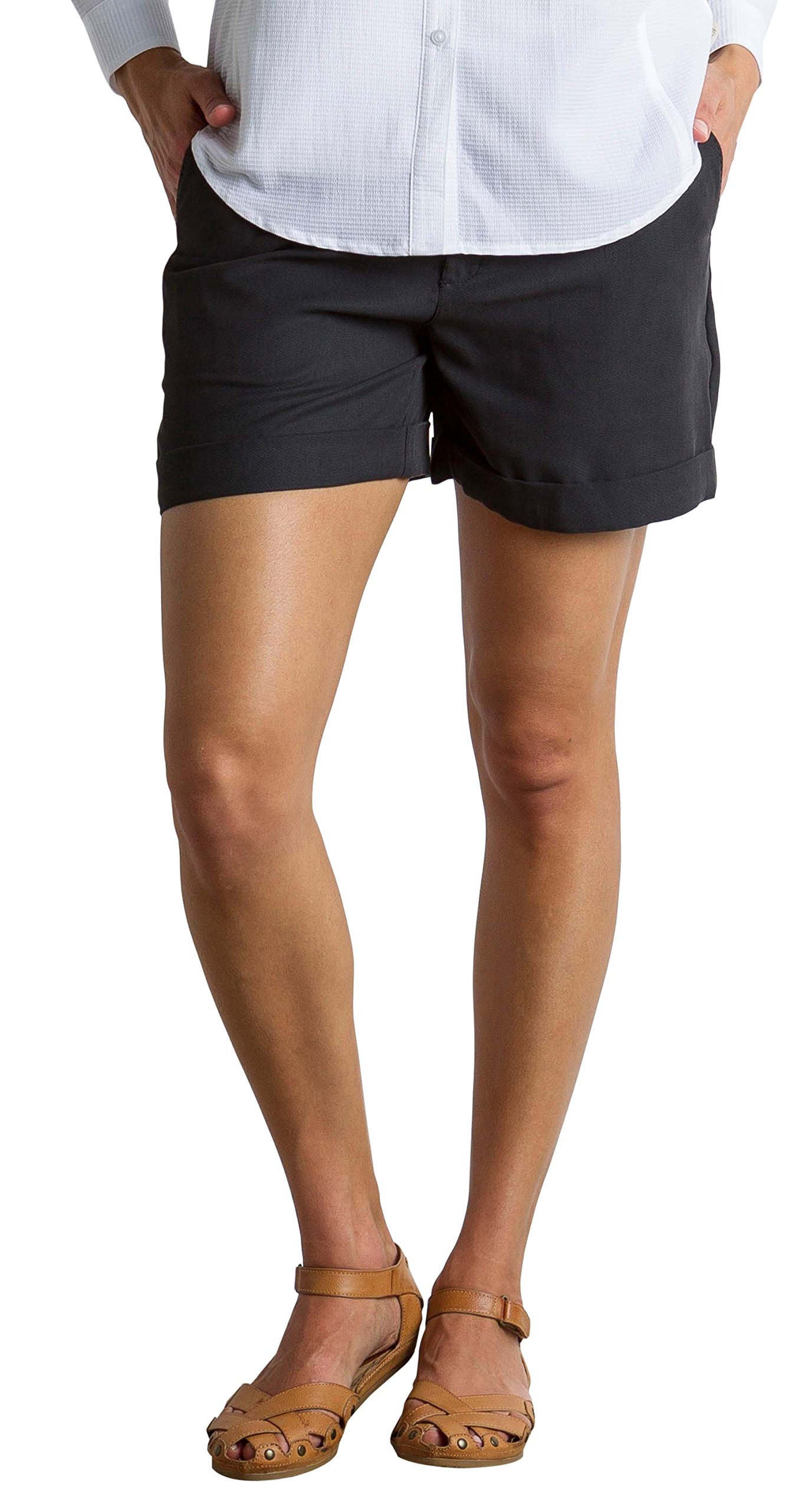 ExOfficio Women's Basilica Relaxed Fit Lightweight Shorts, Black, 8 by ExOfficio