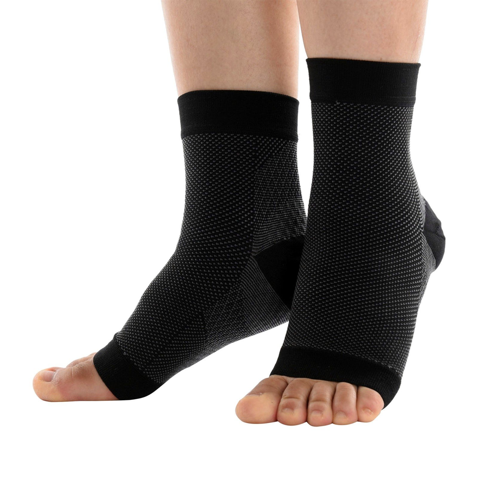 Beauty7 Pair Men Women Plantar Fasciitis Graduated Compression Socks Sleeve 20-30 mmHg Ankle Arch Support Foot Heel Pain Relief Achilles Tendonitis Brace FDA Approve Sports Nurse Pregnancy Black2 S/M