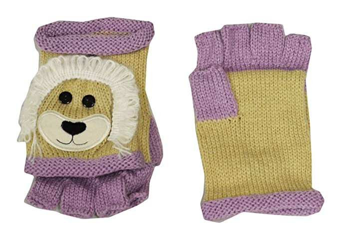 Lion Unisex Hand Knit Animal Fingerless Gloves With Mitten Cap At
