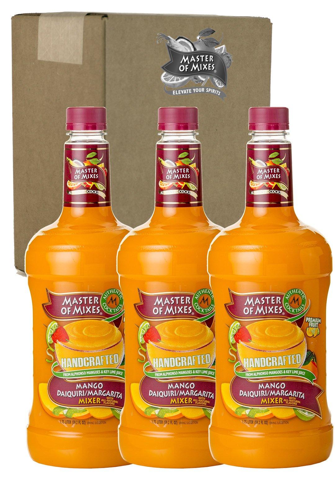Master of Mixes Mango Daiquiri/Margarita Drink Mix, Ready to Use, 1.75 Liter Bottle (59.2 Fl Oz), Pack of 3