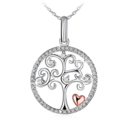 Amazon jse necklaces silver necklace pendant necklace 925 jse necklaces silver necklace pendant necklace 925 sterling silver 3a cubic zirconia tree aloadofball Images
