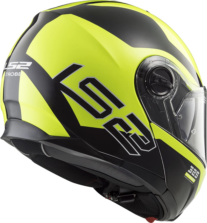 503252154XXS LS2 FF325 Strobe Zone Flip Front Motorcycle Helmet XXS Black H-V Yellow