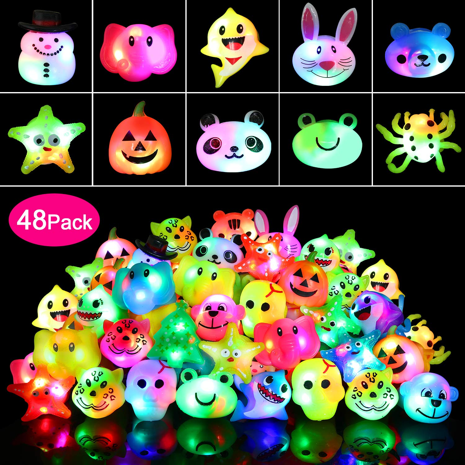wellvo 48 Pack Light up Rings Party Favors for Kids Flashing Led Toys Glow in The Dark Party Supplies Goody Bag Stuffers by wellvo