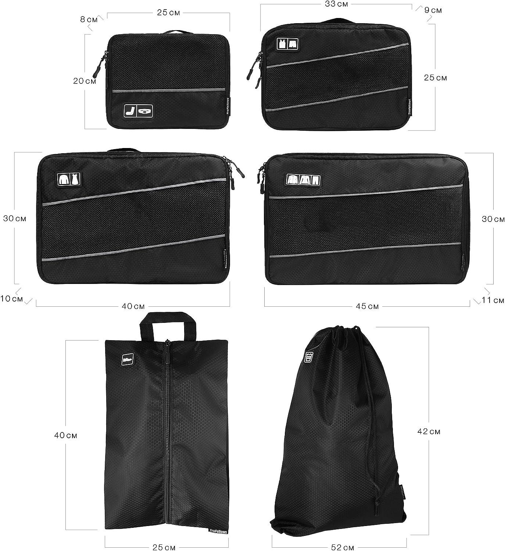 Flexible Speicher die verschiedensten Gegenst/ände getrennt in den Koffer sortieren.6 st/ück. koffertaschen Reisetasche Packtaschen grau Sechs teilige Set