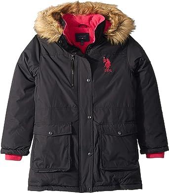 Polo Assn U.S Girls Parka Jacket with Faux Fur Hood US Polo Association O/_UB86H