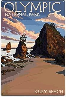 product image for Lantern Press Olympic National Park, Washington - Ruby Beach 54775 (6x9 Aluminum Wall Sign, Wall Decor Ready to Hang)