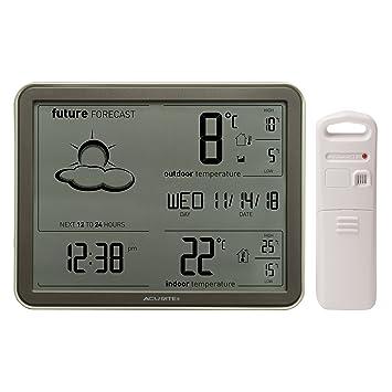 AcuRite 77010 - Estación meteorológica inalámbrica con Pantalla Grande, Sensor de Temperatura inalámbrico y Reloj atómico: Amazon.es: Electrónica