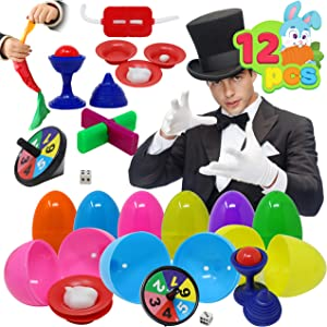 12 PCs Prefilled Easter Eggs with Classic Magic Tricks for Kids Basket Stuffers, Easter Decorations, Easter Egg Hunt Game, Easter Décor Toy, Magic Show, Easter Stuffers Gifts and Party Favors