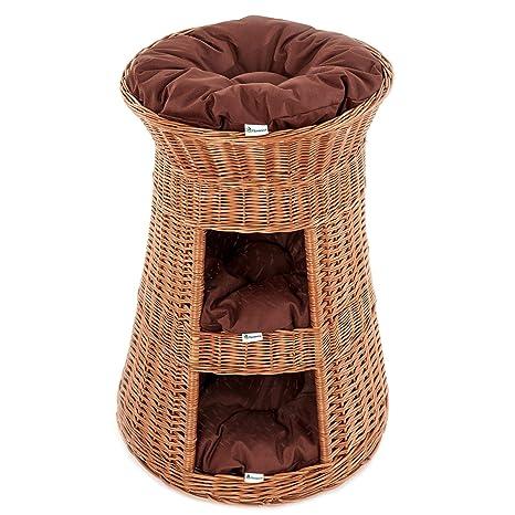 Casa Mascotas, Torre para gato de sauce, mimbre europeo con 3 almohadas, Cojín