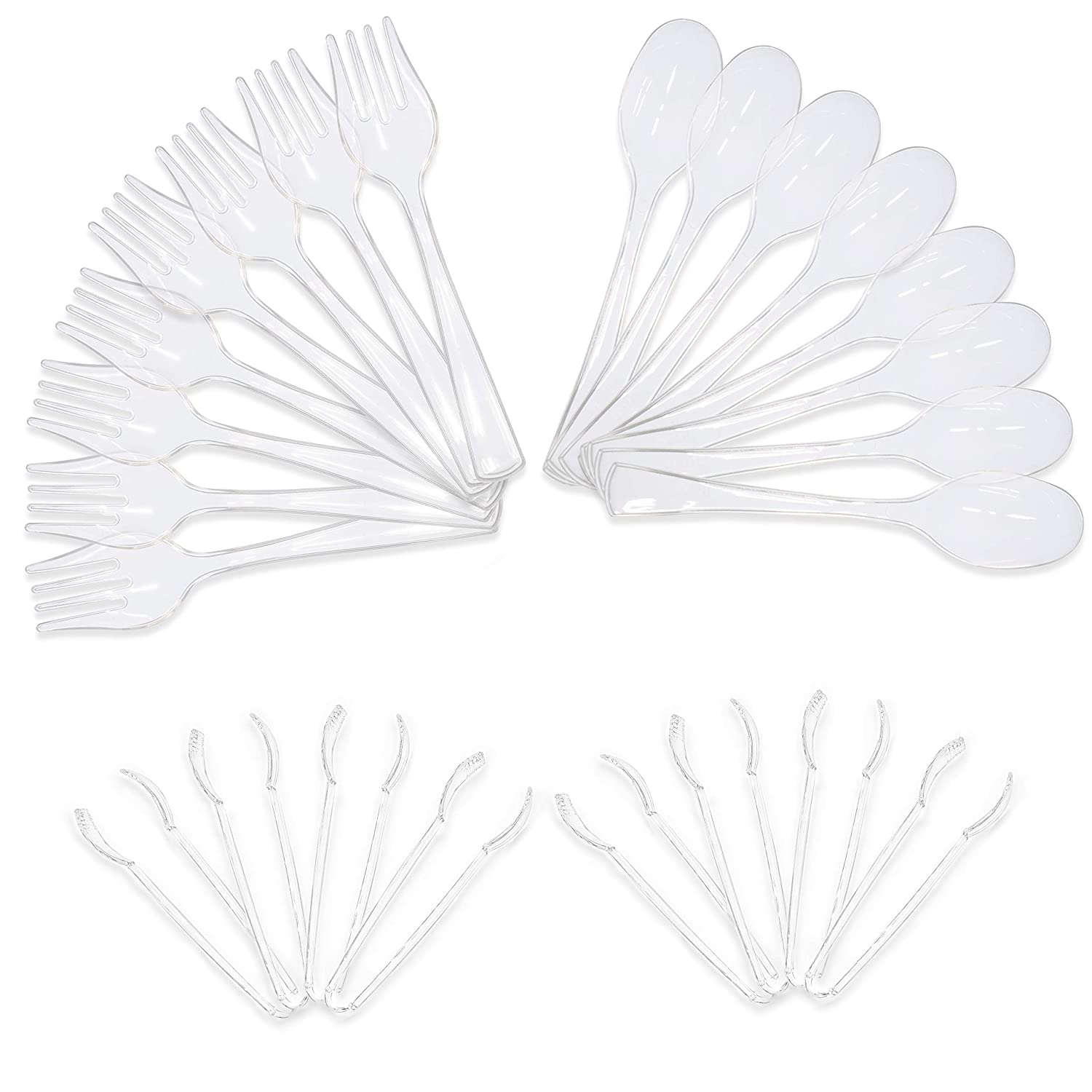 Upper Midland Products Clear Disposable Plastic Serving Utensils - Eight 10 Inch Forks and Spoons and Eight 6 1/2 Inch Serving Tongs