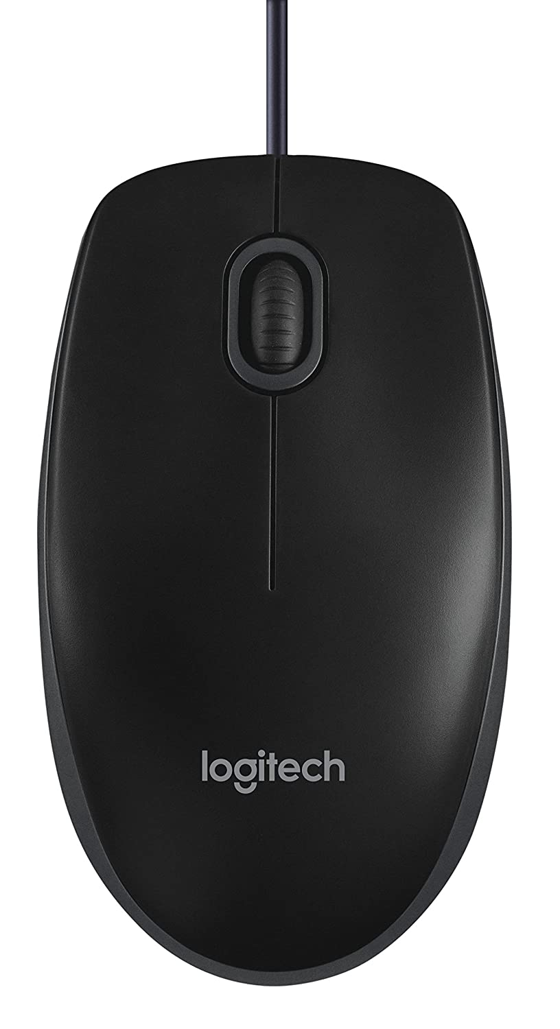 Logitech B100 Corded Mouse – Wired USB Mouse for Computers and Laptops, for Right or Left Hand Use, Black