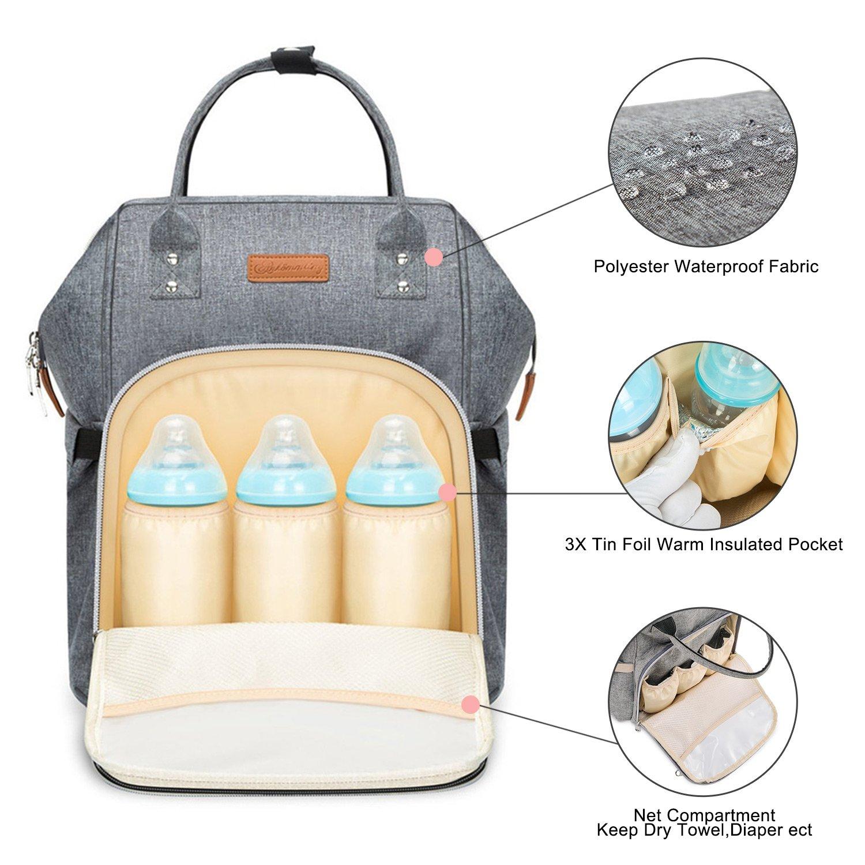 Cambiar Pañales Pañales mochila, multifunción reutilizables pañales – Botella isotérmica para bolsillo mochila, ligero elegante Durable bolsa de viaje ...
