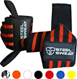 """Wrist Wraps (18"""" & 24"""" Professional Grade) by Steel Sweat - Powerlifting, Weight Lifting, Gym Training - Heavy Duty WASP for Supreme Support"""