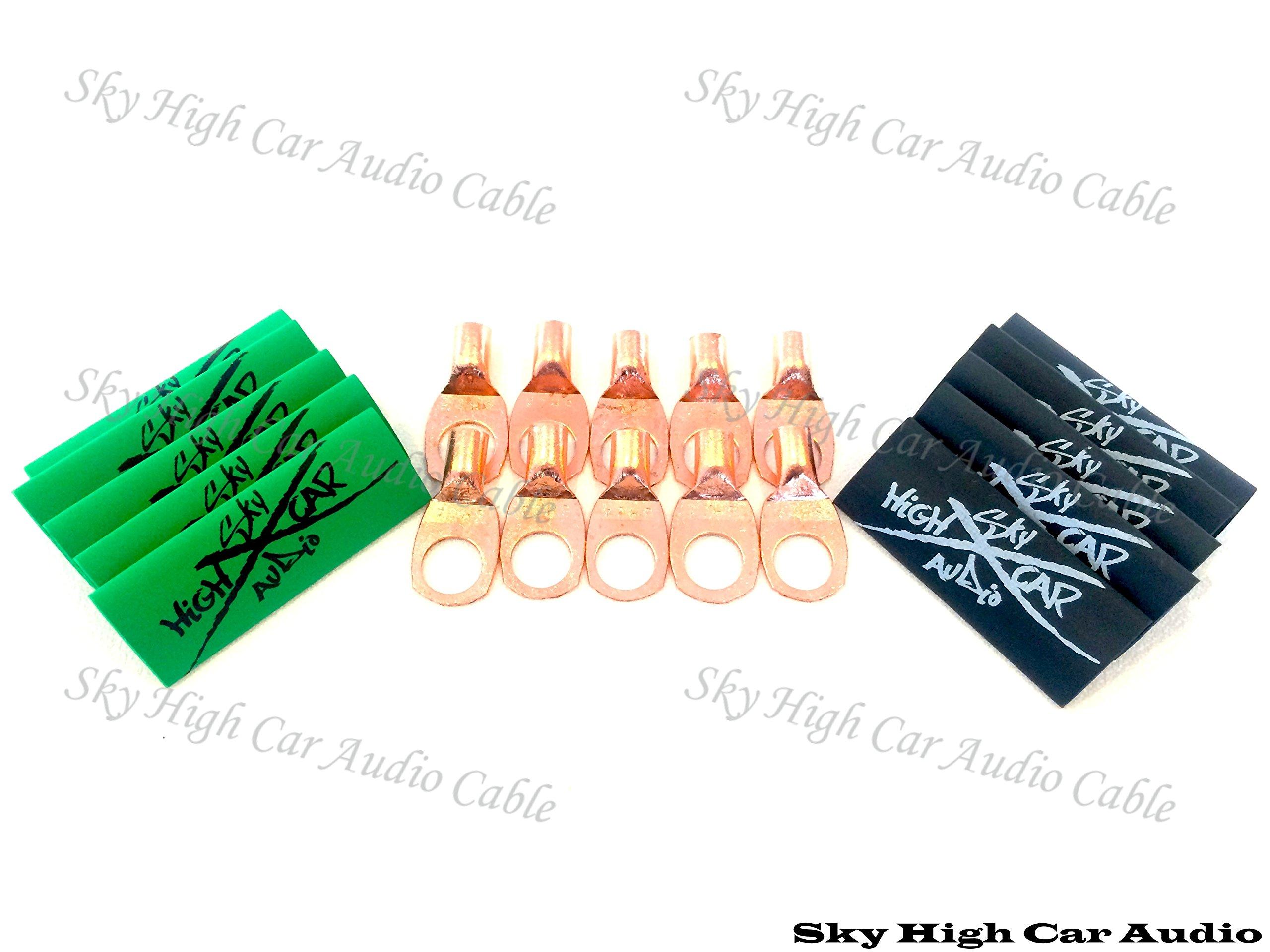 (10) 8 Gauge Copper Ring Terminals 3/8'' Green/black Heat Shrink Tubing Lugs