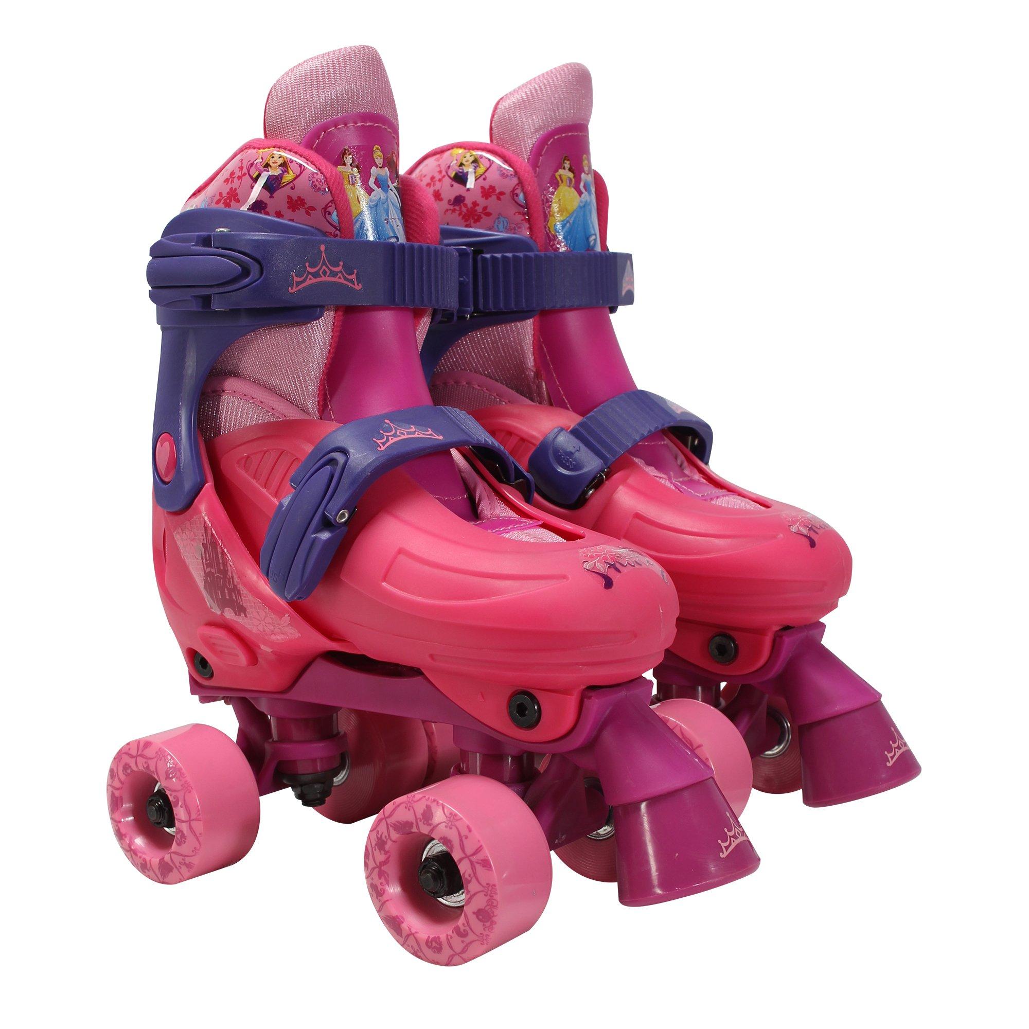 PlayWheels Disney Princess Classic Quad Roller Skates, Junior Size 10-13