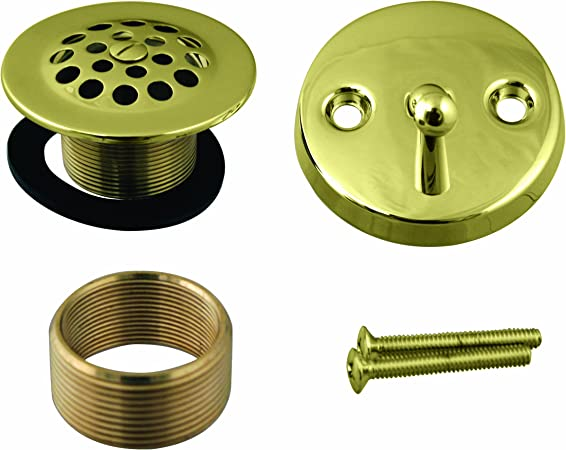 Westbrass Universal Fine or Coarse Thread Replacement Tip-Toe Strainer Drain with 2-Hole Faceplate D93K-12 Oil Rubbed Bronze