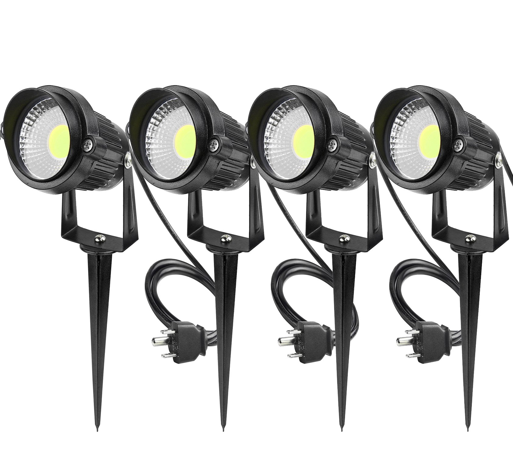 LemonBest Outdoor Garden LED Landscape Lamps Lighting 5W LED Wall Yard Path Lawn Lights Spiked Stand w/AC power plug Cool White, Pack of 4