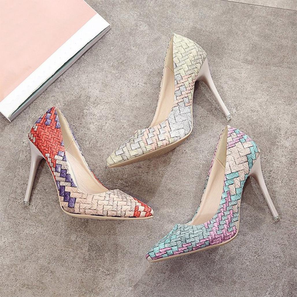 Tacones de mujer Covermason Moda tacones finos Zapatos colores mezclados Tacones bajos Zapatos(39 EU, Azul): Amazon.es: Ropa y accesorios