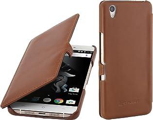 StilGut Book Type, Housse en Cuir avec Clip et Fonction Smart Cover pour OnePlus X, en Cognac