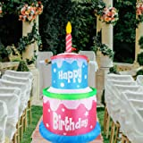 Vigdur 6FT Blow Up Outdoor Decoration Inflatable Happy Birthday-Cake with Candle Lighted Party Decoration for Home Celebratio