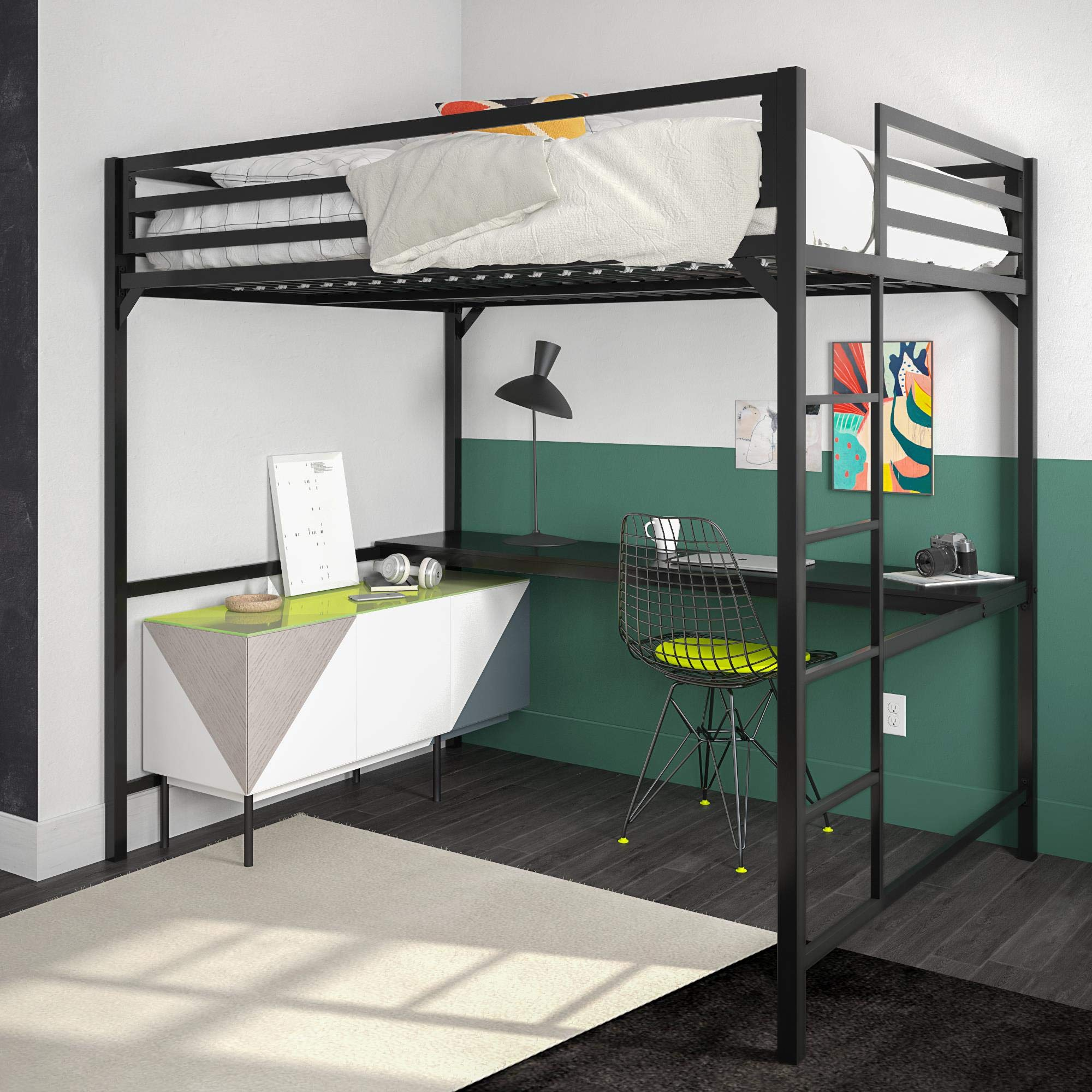 DHP 4308029 Miles Full Metal Loft Bed with Desk, Black,