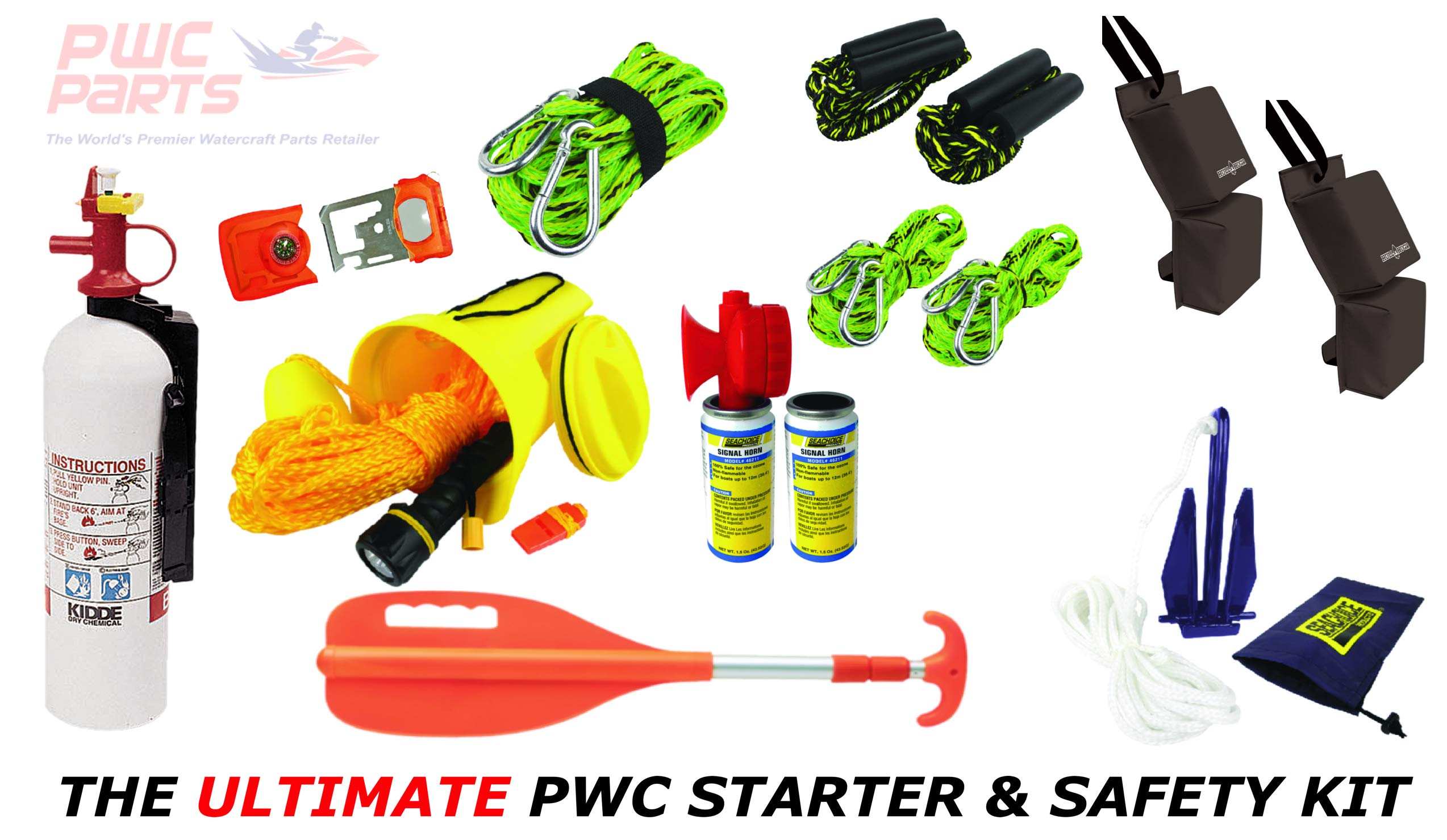 PWC Parts Ultimate Starter & Safety Kit for All Personal Watercraft SeaDoo Yamaha Kawasaki Honda Polaris GTX GTI RXP-X RXT-X GTR EX Spark FX VX Cruiser Sport Deluxe Limited XLT GP-R 1200 1300 800 XL by PWC Parts Co