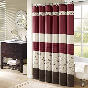 Madison Park Serene Shower Curtain Faux Silk Embroidered Floral Machine Washable Modern Home Bathroom Decorations, 72x72, Ivory