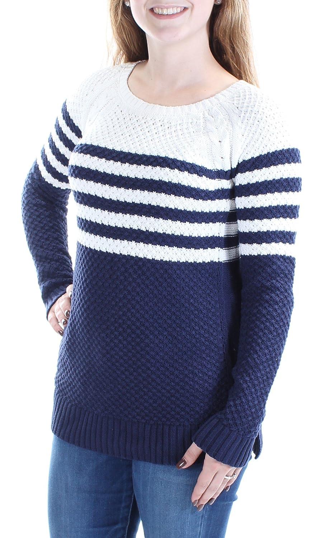7e46977b5f5713 Maison Jules Women s Striped Cross-Stitch Sweater at Amazon Women s  Clothing store