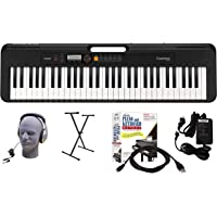 Casio CT-S200BK 61-Key Premium Keyboard Package with Headphones, Stand, Power Supply, 6-Foot USB Cable and eMedia…