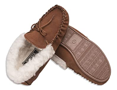 d041c1a043752 Nordvek Womens Sheepskin Slippers - Wool Lined Moccasins - Non-Slip Hard  Sole # 417-100