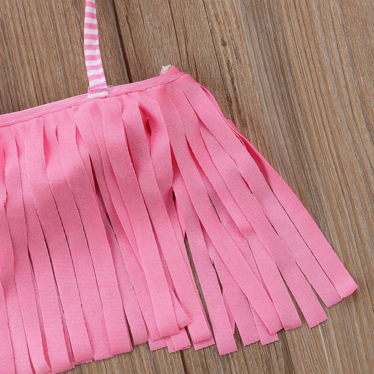 Girls Adjustable Tassel Bikini Set Kids Girl Halter Swimsuit Bathing Suit Little Girl Swimwear Beach Wear for 2-8 Years