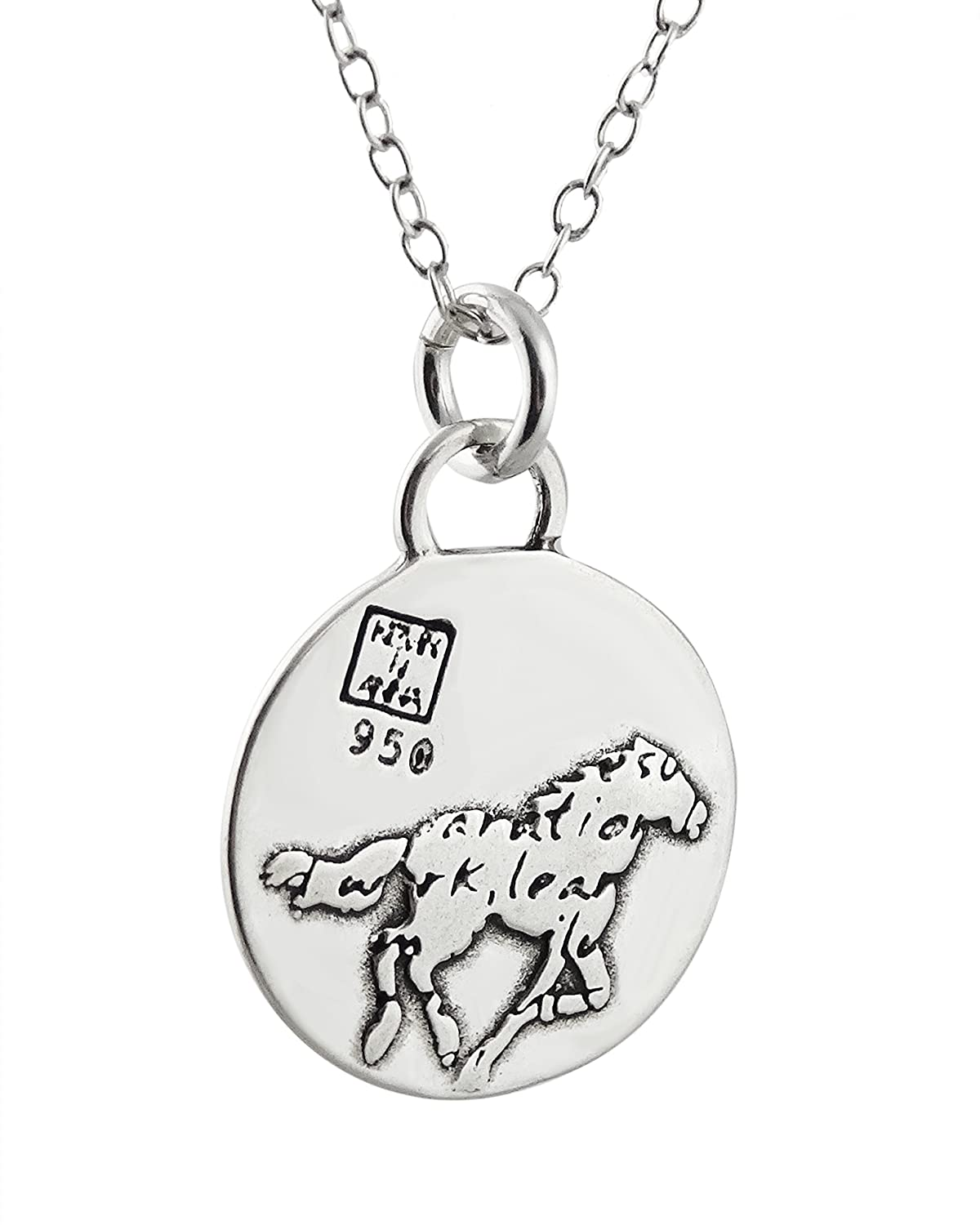 18 Chain FashionJunkie4Life Sterling Silver Horse Charm Necklace with Inspirational Success Quote