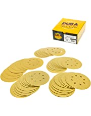 "Dura-Gold Premium - Variety Pack - 5"" Gold Sanding Discs - 8-Hole Dustless Hook and Loop - 10 Each of Grit (60, 80, 120, 220, 320) -Box of 50 Sandpaper Finishing Discs for Woodworking or Automotive"