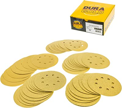 "Premium 5/"" 8 Hole Gold Sanding Discs  Hook /& Loop 80 Grit  50 Discs per Box"