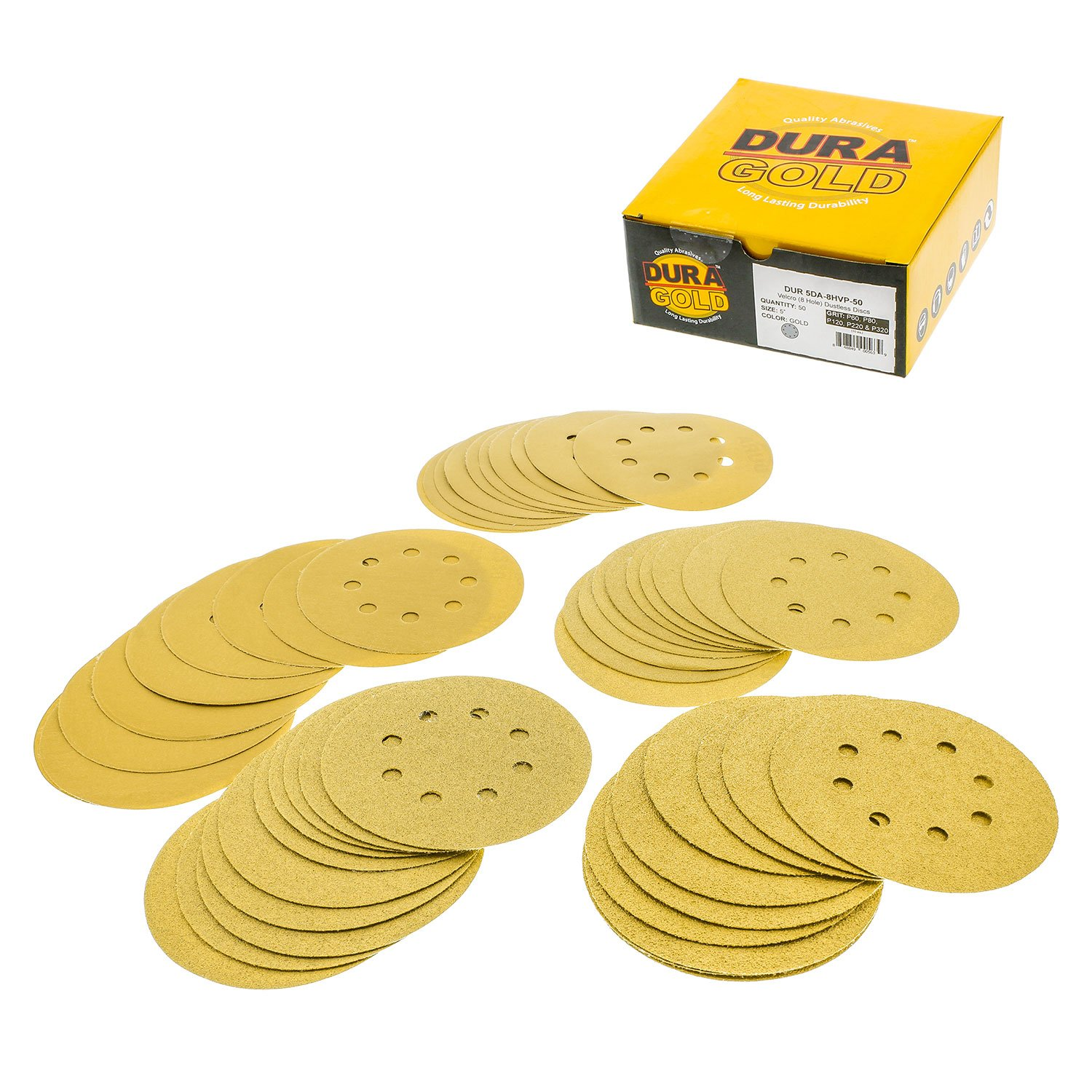 Dura-Gold Premium - Variety Pack - 5'' Gold Sanding Discs - 8-Hole Dustless Hook and Loop - 10 each of Grit (60, 80, 120, 220, 320) -Box of 50 Sandpaper Finishing Discs for Woodworking or Automotive