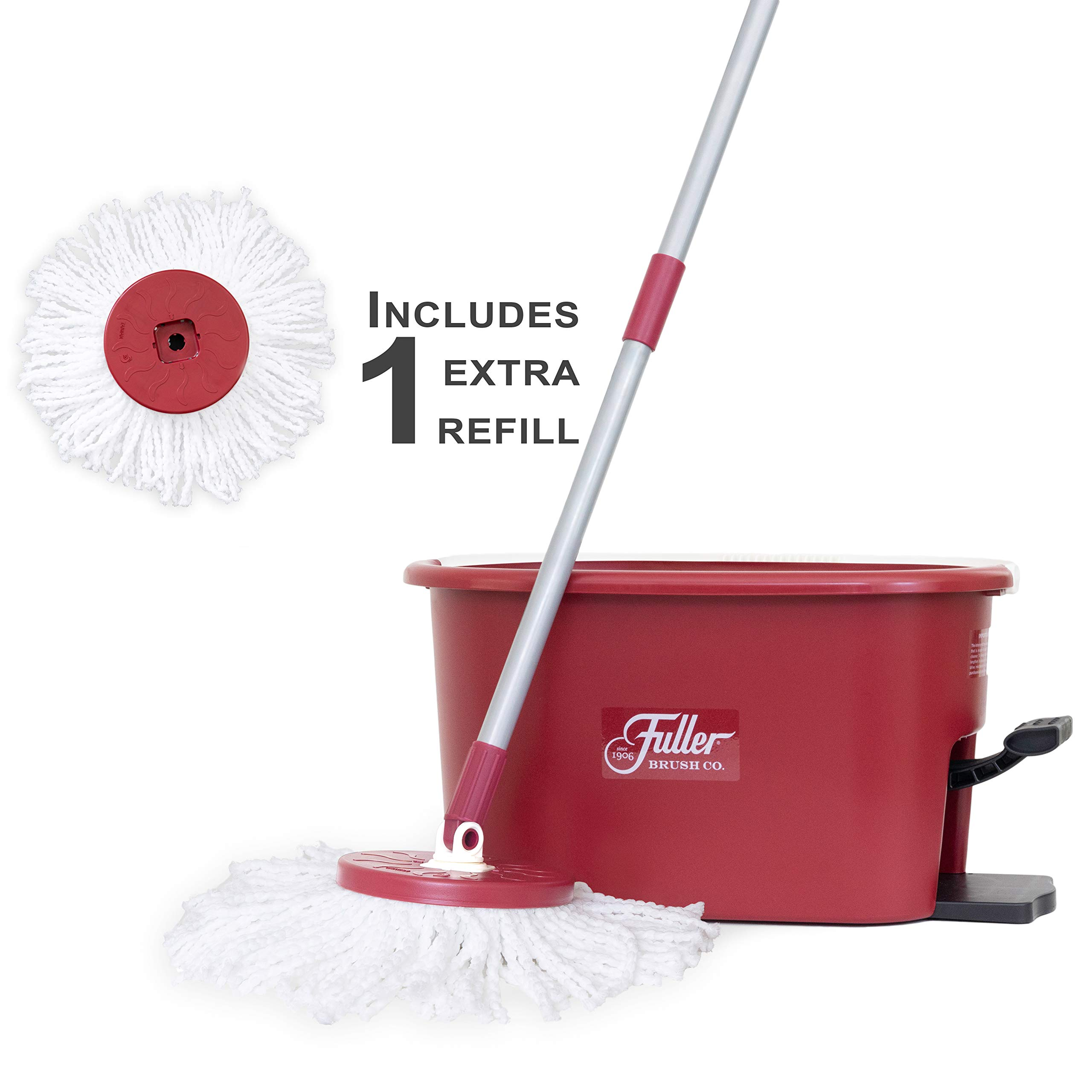 Fuller Brush Spin Mop Exclusive Bucket System - Easy Wring, 360° Spin - Streak Free Floor Cleaning - Ruby Red (1 Extra Refill Mop Head) by Fuller Brush (Image #1)