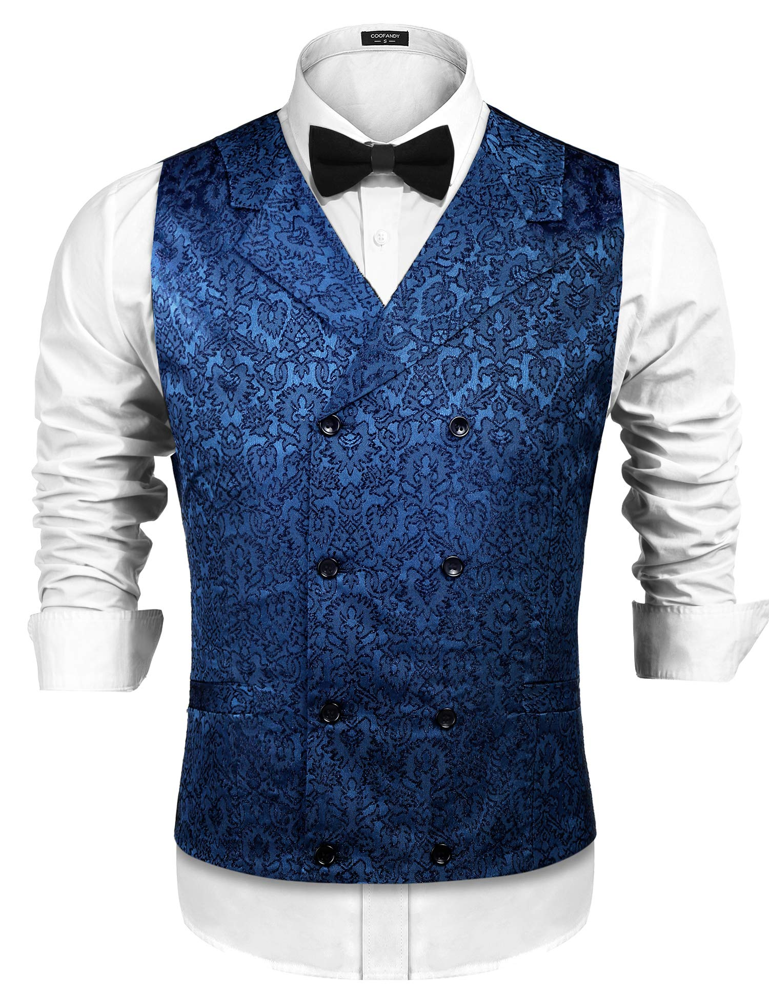 COOFANDY Mens Victorian Vest Steampunk Double Breasted Suit Vest Slim Fit Brocade Paisley Floral Waistcoat 4