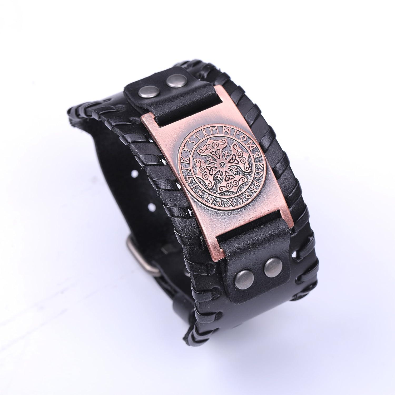 fishhook Religious New Coptic Cross Sprial Triquetra Amulet Runes Leather Bracelet